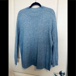 Karen Scott tunic length soft blue sweater
